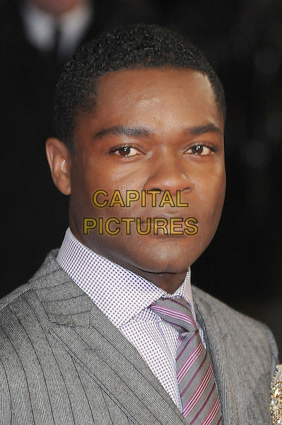 "David Oyelowo  .The World Premiere of ""Jack Reacher"", Odeon Leicester Square, London..10th December 2012.headshot portrait grey gray suit white pink tie pinstripe  .CAP/BEL.©Tom Belcher/Capital Pictures."