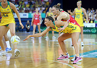 02.08.2017 Australia's Kim Ravaillion in action during a netball match between Australia and England at the Brisbane Entertainment Centre in Brisbane Australia. Mandatory Photo Credit ©Michael Bradley.