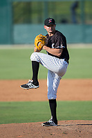 Kannapolis Intimidators relief pitcher Mike Morrison (24) in action against the Hagerstown Suns at Kannapolis Intimidators Stadium on June 15, 2017 in Kannapolis, North Carolina.  The Intimidators walked-off the Suns 5-4 in game one of a double-header.  (Brian Westerholt/Four Seam Images)