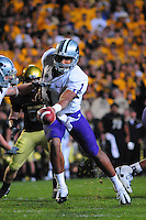 18 October 08: Kansas State quarterback Josh Freeman hands off to running back Logan Dold during a game against Colorado. The Colorado Buffaloes defeated the Kansas State Wildcats 14-13 at Folsom Field in Boulder, Colorado.