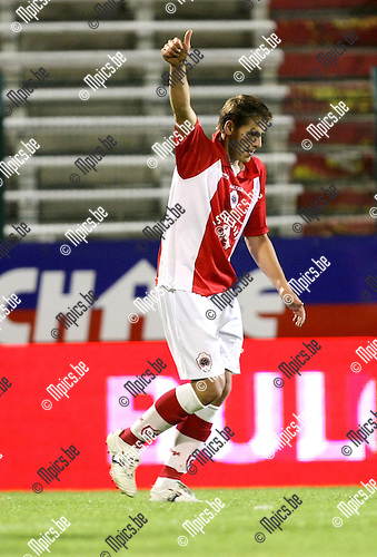2009-08-29 / Voetbal / seizoen 2009-2010 / Antwerp FC - FC Brussels / Kevin Oris met de duim in de lucht na zijn eerste doelpunt voor Antwerp..Foto: Maarten Straetemans (SMB)