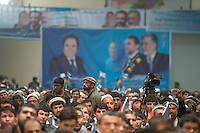 Election rally in the place of the Loya Jirga for presidential candidate Zalmai Rasool. Kabul, Afghanistan 2-4-14 The former foriegn minister addressed a large crowd at the heavily fortified venue.