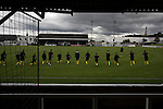 Elgin City 3 Edinburgh City 0, 13/08/2016. Borough Briggs, Scottish League Two. Visiting players going through their pre-match warm up on the pitch at Borough Briggs, home to Elgin City, on the day they played SPFL2 newcomers Edinburgh City. Elgin City were a former Highland League club who were elected to the Scottish League in 2000, whereas Edinburgh City became the first club to gain promotion to the League by winning the Lowland League title and subsequent play-off matches in 2015-16. This match, Edinburgh City's first away Scottish League match since 1949, ended in a 3-0 defeat, watched by a crowd of 610. Photo by Colin McPherson.