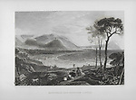 Nineteenth century engraving of Minehead and Dunster Castle, Somerset, England, UK