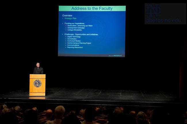Sept. 17, 2013; University President Rev. John I. Jenkins, C.S.C., gives his annual address to the faculty.  Photo by Barbara Johnston/University of Notre Dame