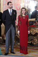 Prince Felipe of Spain and Princess Letizia of Spain attends the reception of the diplomatic corps in Spain at Palacio Real. January 23, 2013. (ALTERPHOTOS/Caro Marin) /NortePhoto
