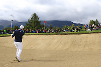 Matthew Fitzpatrick (ENG) chips from a bunker at the 17th green during Sunday's Final Round of the 2017 Omega European Masters held at Golf Club Crans-Sur-Sierre, Crans Montana, Switzerland. 10th September 2017.<br /> Picture: Eoin Clarke | Golffile<br /> <br /> <br /> All photos usage must carry mandatory copyright credit (&copy; Golffile | Eoin Clarke)