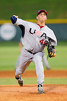 Starting pitcher DJ Baxendale #48 (Arkansas) of the USA Baseball Collegiate National Team in action against the Gastonia Grizzlies at Sims Legion Park on June 30, 2011 in Gastonia, North Carolina.  Team USA defeated the Grizzlies 12-5.  Brian Westerholt / Four Seam Images
