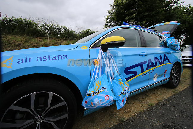 Astana staff wait for their riders pass through the feed zone at La Hargriniere during Stage 3 of the 2016 Tour de France, running 223.5km from Granville to Angers, France . 4th July 2016.<br /> Picture: Eoin Clarke | Newsfile<br /> <br /> <br /> All photos usage must carry mandatory copyright credit (&copy; Newsfile | Eoin Clarke)