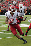 Gabe Marks, Washington State University wide receiver, prepares to break a tackle during the Cougars first road test of the season against Big Ten foe Rutgers at High Point Solutions Stadium in Piscataway, New Jersey, on September 12, 2015.  WSU came back from a late deficit to go on a 90 yard touchdown drive to score the winning TD with 13 seconds left to get the win, 37-34.