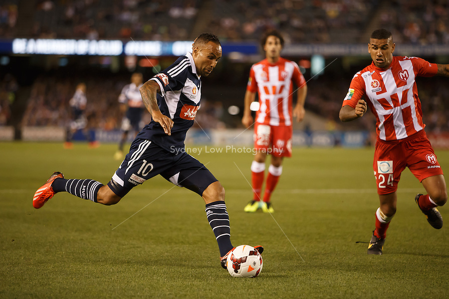 Archie THOMPSON of the Victory prepares to kick the ball in the round one match between Melbourne Victory and Melbourne Heart in the Australian Hyundai A-League 2013-24 season at Etihad Stadium, Melbourne, Australia.<br /> This image is not for sale. Please visit zumapress.com for image licensing.