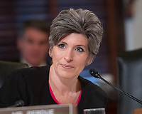 United States Senator Joni Ernst (Republican of Iowa) questions witnesses during testimony before the US Senate Committee on Armed Services Subcommittee on Readiness and Management Support during a hearing titled &quot;US Air Force Readiness&quot; on Capitol Hill in Washington, DC on Wednesday, October 10, 2018.<br /> CAP/MPI/RS<br /> &copy;RS/MPI/Capital Pictures