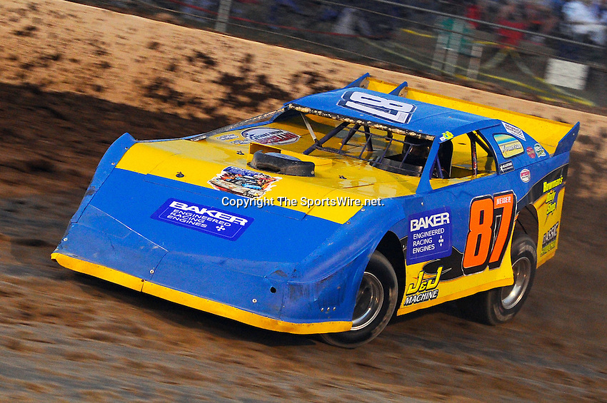 Sep 10, 2010; 8:03:12 PM; Rossburg, OH., USA; The 40th annual running of the World 100 Dirt Late Models racing for the Globe trophy at the Eldora Speedway.  Mandatory Credit: (thesportswire.net)
