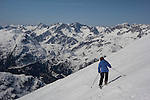 Beth high up Rendl Ski Area at St Anton, Austria,