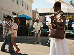 """People dance in the streets to the music of the """"Bayou Band"""" during the 29th annual Pittsburg Seafood and Music Festival on Sunday, September 8th, 2013, in Pittsburg, California.  Photo/Victoria Sheridan."""
