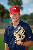 GCL Nationals pitcher Mason Denaburg (16) poses for a photo before a game against the GCL Cardinals on August 5, 2018 at Roger Dean Chevrolet Stadium in Jupiter, Florida.  GCL Cardinals defeated GCL Nationals 17-7.  (Mike Janes/Four Seam Images)