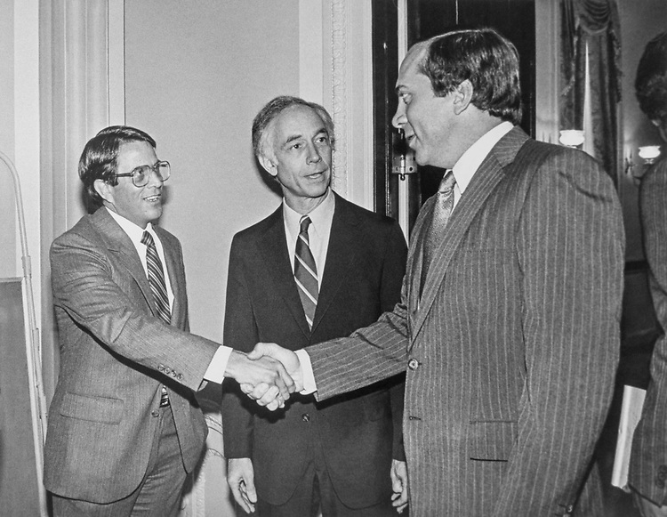 Walter Blake, of the Kroger company,  and Johnny Bench, former Cincinnati Reds Catcher, at a reception hosted by Rep. Bill Gradison, R-Ohio, to honor Bench in Oct., 1983. (Photo by CQ Roll Call)