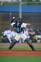 GCL Rays catcher Julio Meza (16) throws down to second base during a Gulf Coast League game against the GCL Pirates on August 7, 2019 at Charlotte Sports Park in Port Charlotte, Florida.  GCL Rays defeated the GCL Pirates 4-1 in the first game of a doubleheader.  (Mike Janes/Four Seam Images)