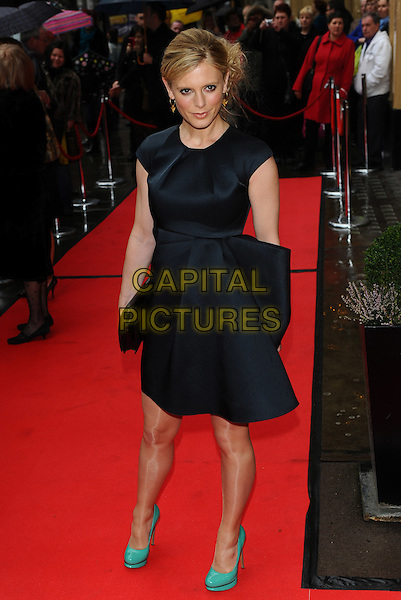 EMILIA FOX.The Tesco Magazine Mum Of The Year 2011 at The Waldorf Hilton Hotel, London, England. .February 27th, 2011.full length blue green turquoise shoes black silk satin clutch bag.CAP/CJ.©Chris Joseph/Capital Pictures.