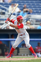 Williamsport Crosscutters third baseman Jan Hernandez (11) at bat during a game against the Batavia Muckdogs on July 27, 2014 at Dwyer Stadium in Batavia, New York.  Batavia defeated Williamsport 6-5.  (Mike Janes/Four Seam Images)