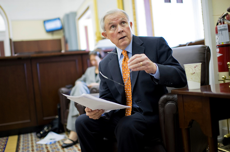 UNITED STATES - JULY 06:  Sen. Jeff Sessions, R-Ala., conducts a pen and pad briefing in the Capitol where he advocated spending cuts over tax increase as a way to balance the budget. (Photo By Tom Williams/Roll Call)