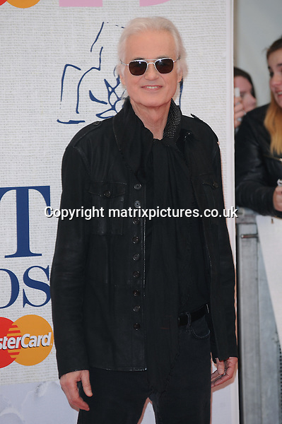 NON EXCLUSIVE PICTURE: PAUL TREADWAY / MATRIXPICTURES.CO.UK<br /> PLEASE CREDIT ALL USES<br /> <br /> WORLD RIGHTS<br /> <br /> English musician Jimmy Page attending the BRIT Awards 2015 at the O2 Arena, in London.<br /> <br /> FEBRUARY 25th 2015<br /> <br /> REF: PTY 15627