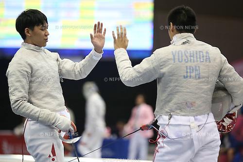 (L-R) Kiichi Osaki, Kento Yoshida (JPN), <br /> JULY 7, 2015 - Fencing : <br /> The 28th Summer Universiade 2015 Gwangju Men's Team Sabre Preliminary <br /> at Kimdaejung Convention Center in Gwangju, South Korea.<br /> (Photo by Sho Tamura/AFLO SPORT)