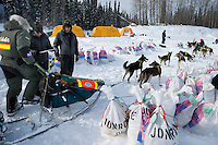 Jeff King checks in to the Eagle Island checkpoint on Saturday afternoon.  Eagle Island is a remote tent checkpoint.  Iditarod 2009