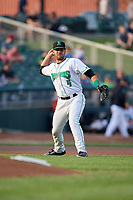 Dayton Dragons third baseman John Sansone (4) throws to first base during a game against the Cedar Rapids Kernels on May 10, 2017 at Fifth Third Field in Dayton, Ohio.  Cedar Rapids defeated Dayton 6-5 in ten innings.  (Mike Janes/Four Seam Images)