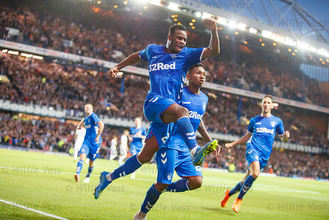 09.08.18 Rangers v Maribor: Lassana Coulibaly celebrates