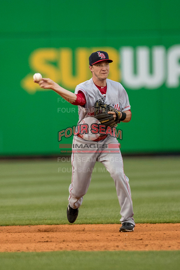 Louisville Bats shortstop Zach Vincej (3) makes a throw to first base against the Toledo Mud Hens during the International League baseball game on May 17, 2017 at Fifth Third Field in Toledo, Ohio. Toledo defeated Louisville 16-2. (Andrew Woolley/Four Seam Images)