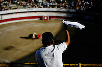 Tijuana, Baja de California, MX, July 1, 2007 - A spectator cheered matador, Omar Villasenor, during a performance at Plaza Monumental. Though badly injured during the match, Villasenor continued to fight the bull winning the support of the crowd. The white handkerchief represents an excellent performance, and that the fan wishes the judge to grant the bullfighter an ear. After the match the judge deemed the match worthy of two ears, the highest honor for the bullfighter.