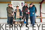 Listowel Coursing:Tom Kearney, Abbeydorney & Michael Body, Abbeyfeale accepting the trophies as their dog Four Prong won the Dick Galvin Memorial Cup at Listowel coursing on Sunday last.