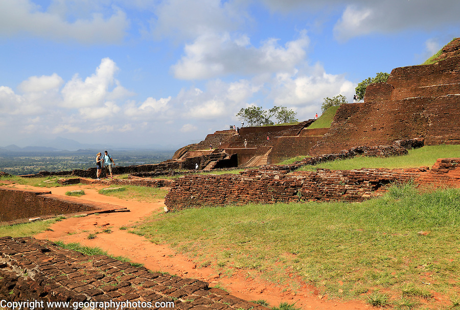 Buildings of rock palace fortress on rock summit, Sigiriya, Central Province, Sri Lanka, Asia