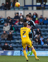 Max Kretzschmar of Wycombe Wanderers beats Lee Mansell of Bristol Rovers in the air during the Sky Bet League 2 match between Wycombe Wanderers and Bristol Rovers at Adams Park, High Wycombe, England on 27 February 2016. Photo by Andy Rowland.