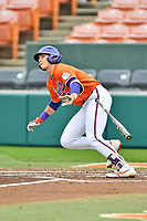 Clemson Tigers center fielder Bryce Teodosio (13) swings at a pitch during a game against the North Carolina Tar Heels at Doug Kingsmore Stadium on March 9, 2019 in Clemson, South Carolina. The Tigers defeated the Tar Heels 3-2 in game one of a double header. (Tony Farlow/Four Seam Images)