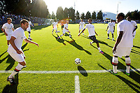 Manchester City players warm up before  a match at Merlo Field in Portland Oregon on July 17, 2010.