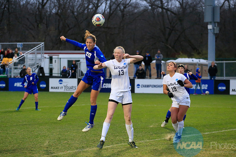 KANSAS CITY, MO - DECEMBER 03:  Emily Nelson (13) of Western Washington University and Gabriella Mencotti (20) of Grand Valley State University battle for the ball during the Division II Women's Soccer Championship held at Children's Mercy Victory Field at Swope Soccer Village on December 03, 2016 in Kansas City, Missouri. Western Washington University beat Grand Valley State University 3-2 to win the national title.  (Photo by Jack Dempsey/NCAA Photos via Getty Images)