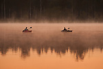 Sunrise in fog Lake Cassidy with fisherman in small kayak fishing.
