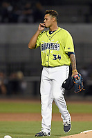 Closer Darwin Ramos (34) of the Columbia Fireflies celebrates after recording the final out in a game against the Augusta GreenJackets on Friday, April 6, 2018, at Spirit Communications Park in Columbia, South Carolina. Columbia won, 7-2. (Tom Priddy/Four Seam Images)