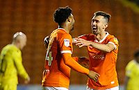Blackpool's Ryan Hardie celebrates scoring his side's third goal with Joe Nuttall<br /> <br /> Photographer Alex Dodd/CameraSport<br /> <br /> EFL Leasing.com Trophy - Northern Section - Group G - Blackpool v Morecambe - Tuesday 3rd September 2019 - Bloomfield Road - Blackpool<br />  <br /> World Copyright © 2018 CameraSport. All rights reserved. 43 Linden Ave. Countesthorpe. Leicester. England. LE8 5PG - Tel: +44 (0) 116 277 4147 - admin@camerasport.com - www.camerasport.com