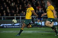 Kurtley Beale celebrates his late try during the Rugby Championship and Bledisloe Cup rugby match between the New Zealand All Blacks and Australia Wallabies at Forsyth Barr Stadium in Dunedin, New Zealand on Saturday, 26 August 2017. Photo: Dave Lintott / lintottphoto.co.nz