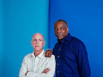 LOS ANGELES, CA - March 3: Mark Wolper, left, and LeVar Burton serve as executive producers in History Channel's new adaptation of Alex Haley's 1977 miniseries of the same title, chronicling the history of an African slave sold to America and his descendants. (Photo by Brinson+Banks)