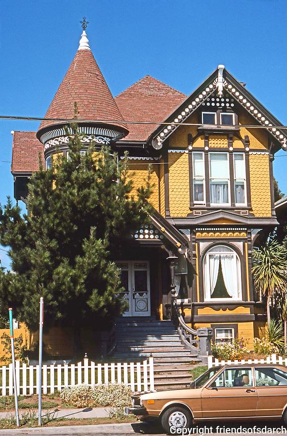 Alameda CA: Eastlake-Queen Anne House, c. 1890. San Antonio Ave. Photo '76.