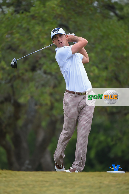 Billy Horschel (USA) watches his tee shot on 2 during Round 3 of the Valero Texas Open, AT&T Oaks Course, TPC San Antonio, San Antonio, Texas, USA. 4/21/2018.<br /> Picture: Golffile | Ken Murray<br /> <br /> <br /> All photo usage must carry mandatory copyright credit (© Golffile | Ken Murray)