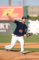 Austin Chrismon (39) of the Lancaster JetHawks pitches during a game against the Lake Elsinore Storm at The Hanger on August 29, 2015 in Lancaster, California. Lancaster defeated Lake Elsinore 7-4. (Larry Goren/Four Seam Images)
