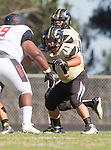 Palos Verdes, CA 09/25/15 - Daniel Schubert (Peninsula #18) and Andres Park (Peninsula #71) in action during the Lawndale - Palos Verdes Peninsula Varsity football game at Peninsula High School.