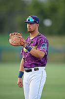 Charlotte Stone Crabs first baseman Nathaniel Lowe (36) warms up before a game against the Palm Beach Cardinals on April 21, 2018 at Charlotte Sports Park in Port Charlotte, Florida.  Charlotte defeated Palm Beach 5-2.  (Mike Janes/Four Seam Images)