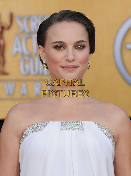 NATALIE PORTMAN .at the 17th Screen Actors Guild Awards held at The Shrine Auditorium in Los Angeles, California, USA, .January 30th 2011..SAG Sags arrivals portrait headshot  strapless white silver  trim hair up beauty earrings .CAP/RKE/DVS.©DVS/RockinExposures/Capital Pictures.