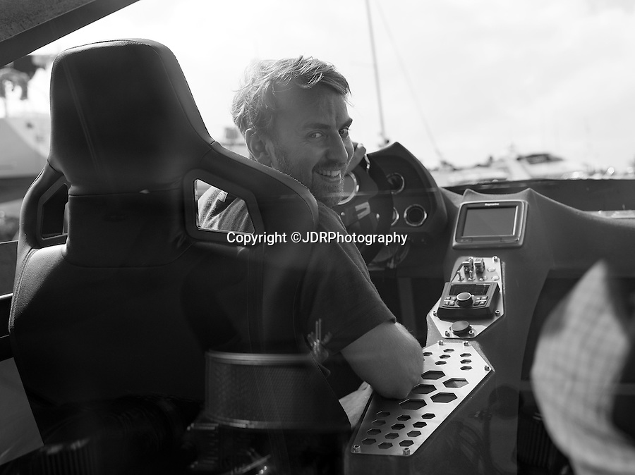 BNPS.co.uk (01202 558833)<br /> Pic: JDRPhotography/BNPS<br /> <br /> Chris test's his creation in the Solent.<br /> <br /> Boat out of hell - Bat boat built by boffin in a barn set's nautical pulses racing...<br /> <br /> A homemade boat which looks fit for Batman and is billed as the world's first luxury hydroplane is set to hit the market for £120,000. <br /> <br /> The 'bat boat' was the brainchild of 35-year-old engineer Chris Phillips who spent five years putting it together on his dad's farm. <br /> <br /> With a marine adapted 9.4 litre engine originally designed for American NASCAR racers, Chris spent £40,000 on producing the four-seat vessel which boasts 2,000 horse power can reach speeds of 60 knots. <br /> <br /> After selling his car so he could afford to take the prototype to display at the Southampton Boat Show, he says he has now attracted 'significant' investment to produce more.